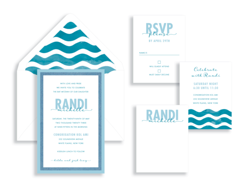 Randi layered bat mitzvah invitation available in northern Virginia from Staccato