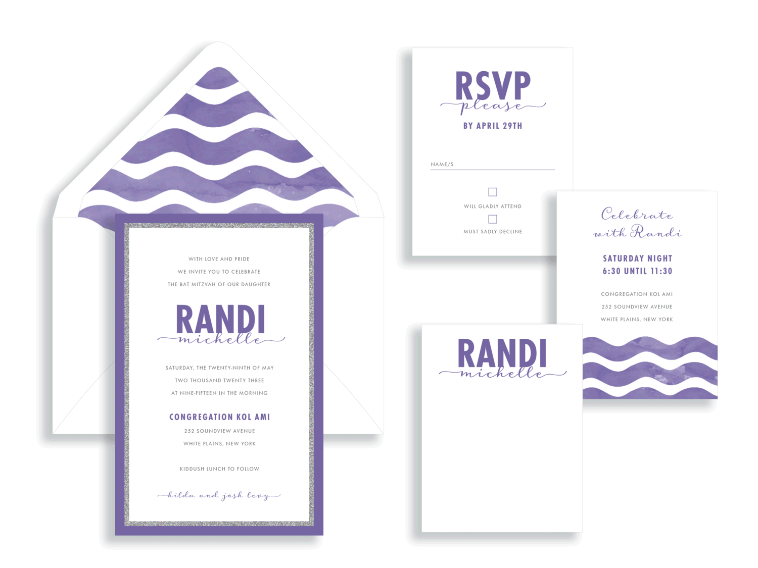 Randi purple and silver bat mitzvah invitation in the Washington DC Metro area from Staccato.  Customize colors and layers!