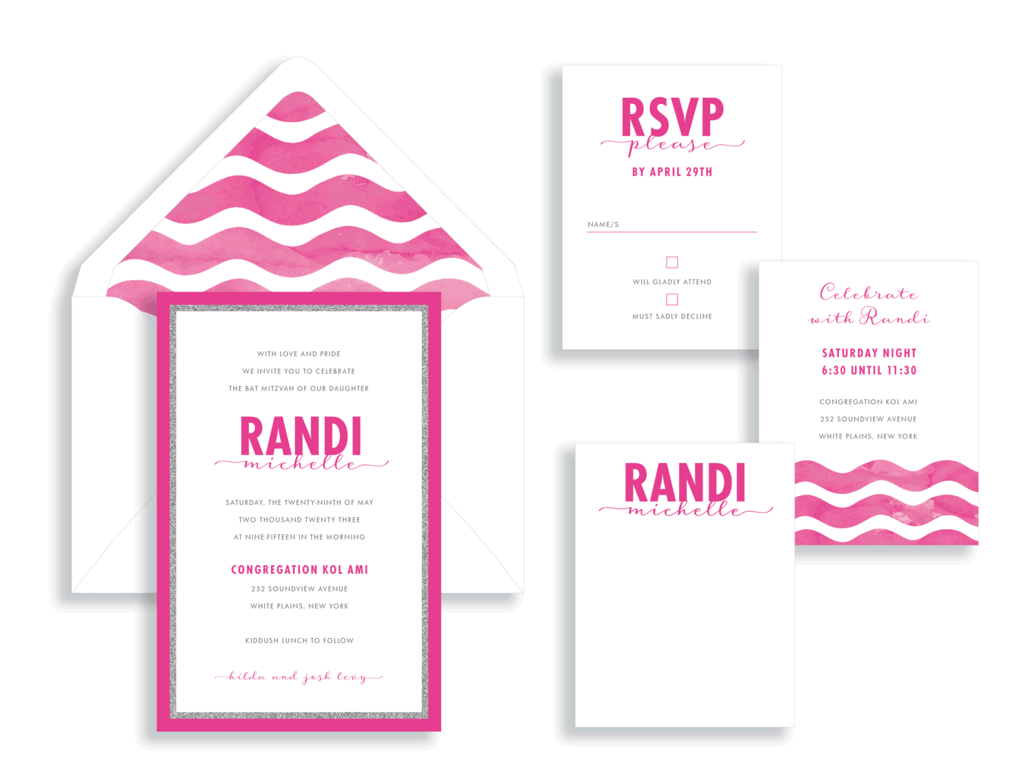 Randi bat mitzvah magenta and silver glitter invitation in Fairfax Virginia from Staccato with personalized service, great selection!