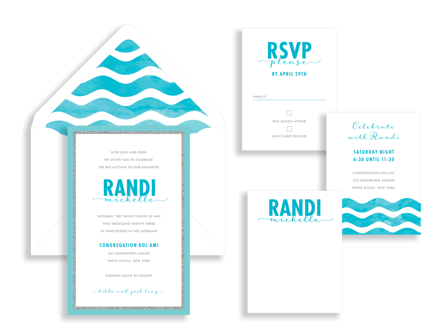Randi Michelle Wave Bat Mitzvah Invitation in turquoise.  Bat Mitzvah invitations Northern Virginia Fairfax.