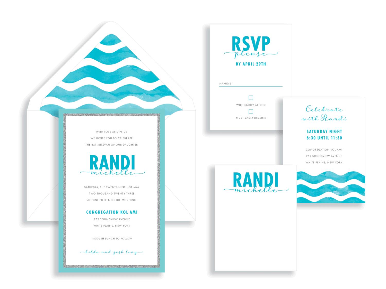 Randi Michelle Wave Bat Mitzvah Invitation in turquoise.  Bat Mitzvah invitations Northern Virginia Fairfax.