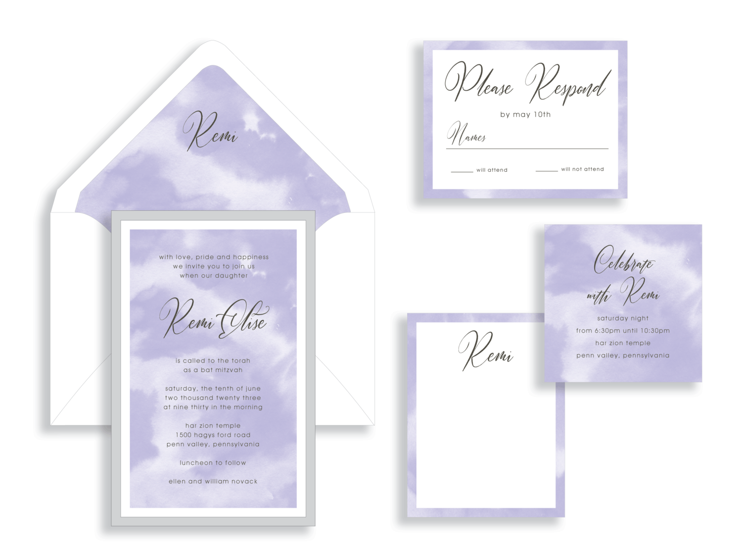 Remi Bat Mitzvah Invitation purple clouds silver layer.  Bat Mitzvah invitations Northern Virginia Fairfax.