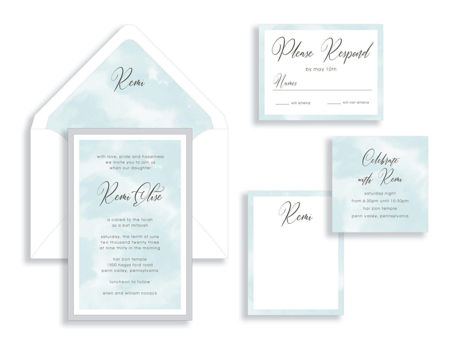 Remi aqua watercolor and silver bat mitzvah invitation in Fairfax Virginia from Staccato with personalized service, great selection!