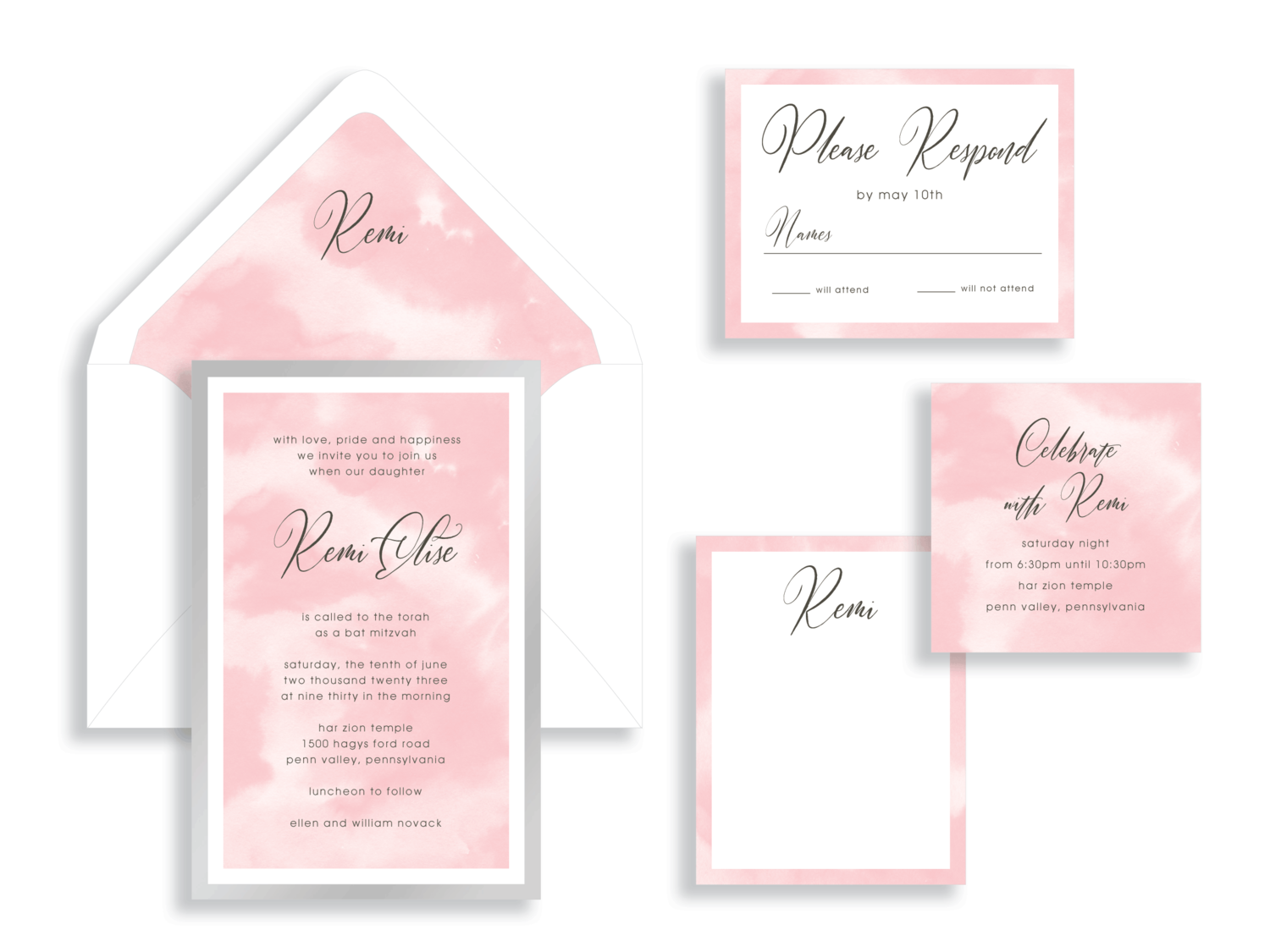 Remi bat mitzvah invitation available in northern Virginia from Staccato