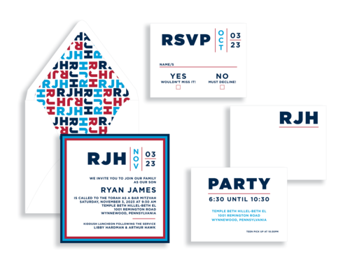 Navy, blue, and red bar mitzvah invitation available from Staccato for your Maryland mitzvah celebration.