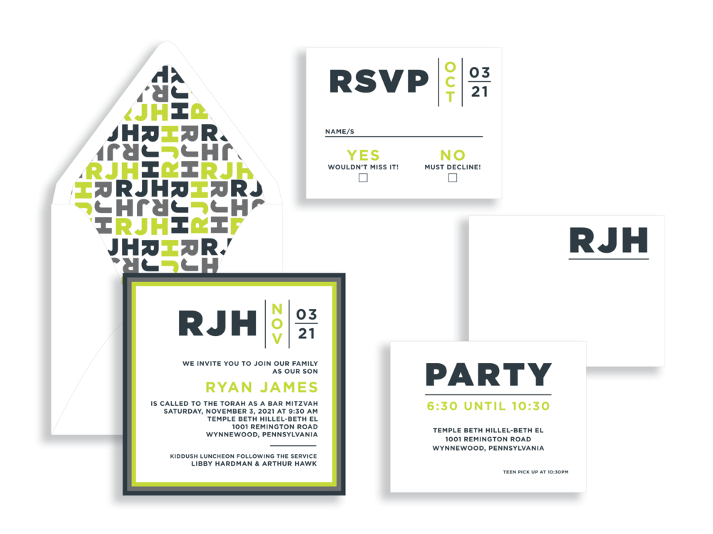 Ryan bar mitzvah invitation available in the Washington DC Metro  area from Staccato.