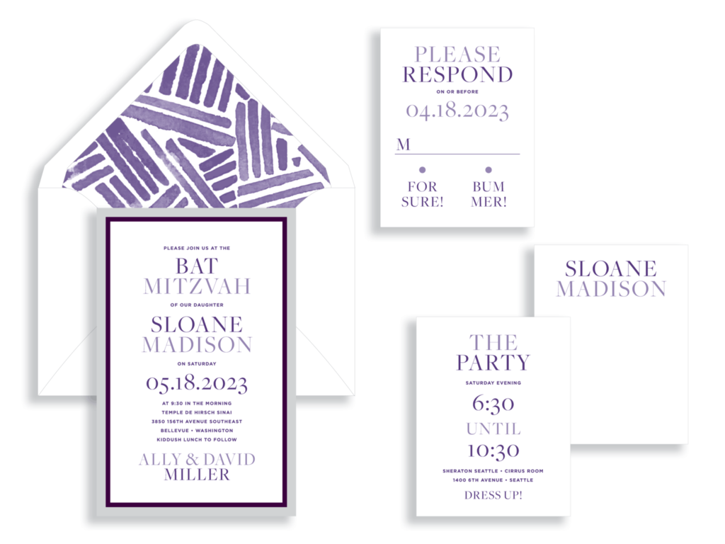contemporary purple bat mitzvah invitation featuring layers of accent paper as a border, a fun envelope liner with a watercolor pattern, and clean, contemporary text.