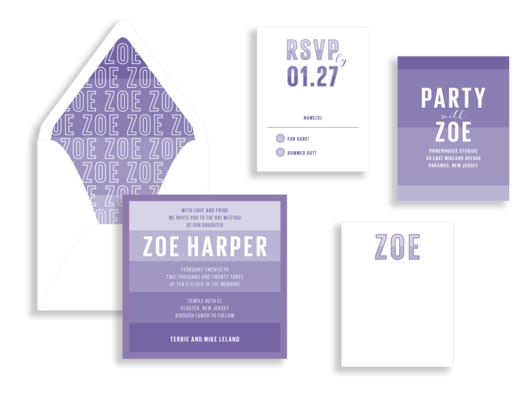 bright modern stripes are the highlight of this purple bat mitzvah invitation available in Fairfax, VA. White text and a personalized envelope liner.