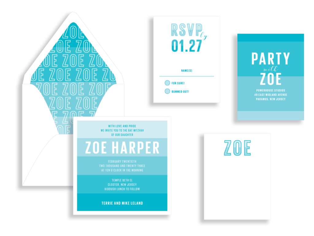 bright modern stripes are the highlight of this turquoise bat mitzvah invitation available in Fairfax, VA. White text and a personalized envelope liner.