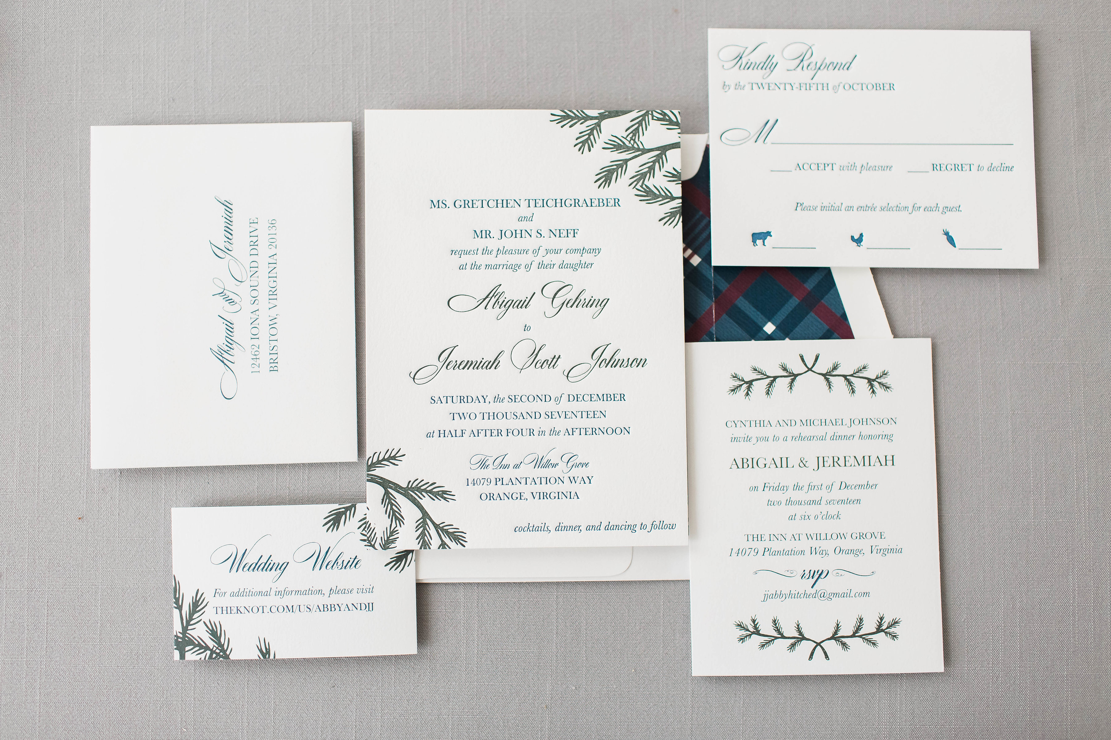 Abby & JJ\'s Custom Letterpress Wedding Invitations • Staccato