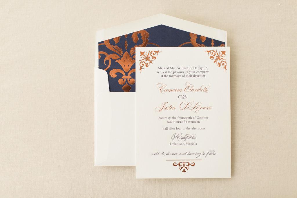 Cameron & Justin\'s Foil Stamped & Letterpress Wedding Invitations ...