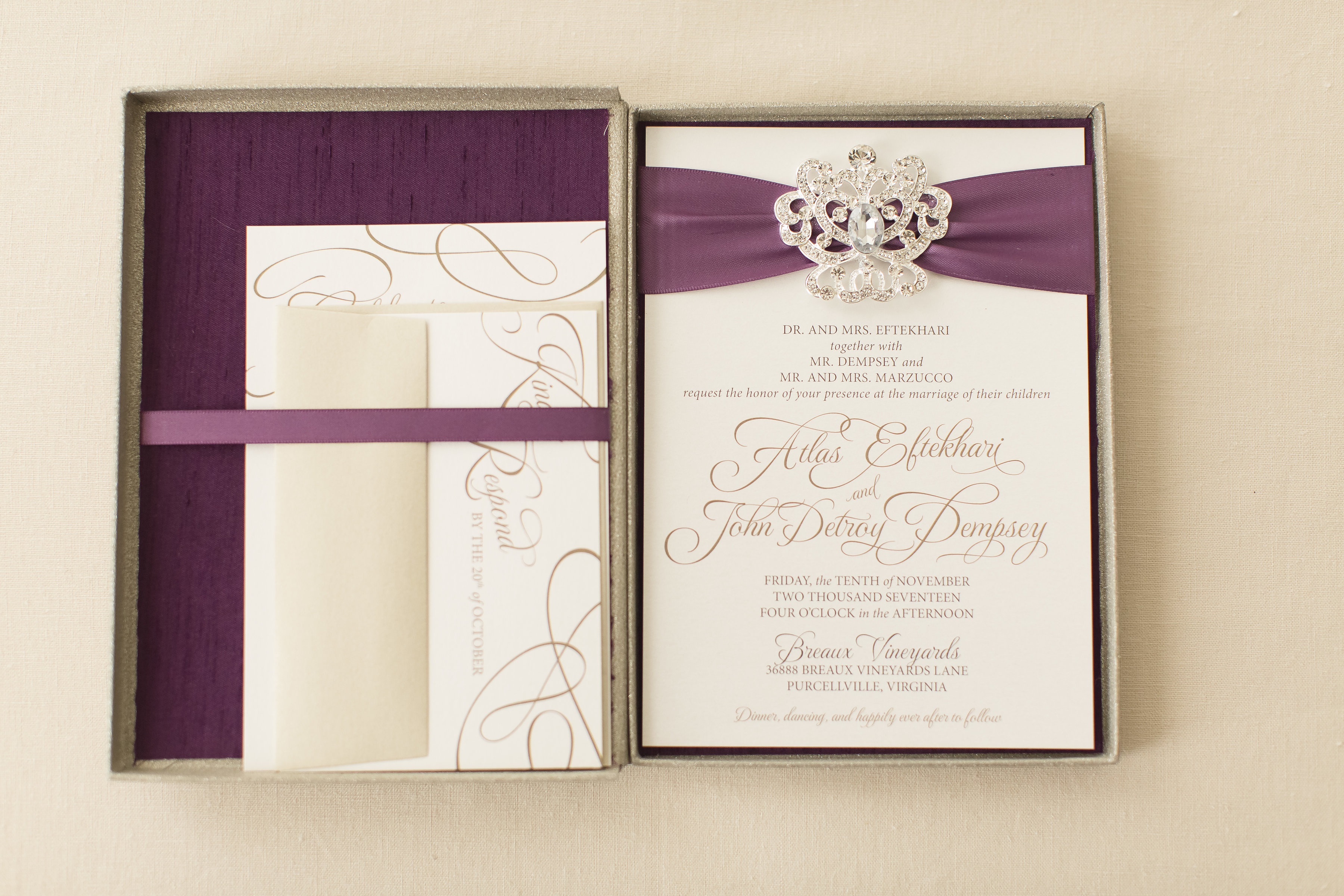 Atlas and Detroy's Silk-Lined Boxed Invitations