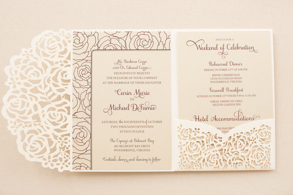 ivory lasercut roses pocketfold wedding invitation
