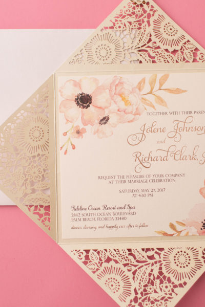 Jolene & Richard's Lasercut Wedding Invitations