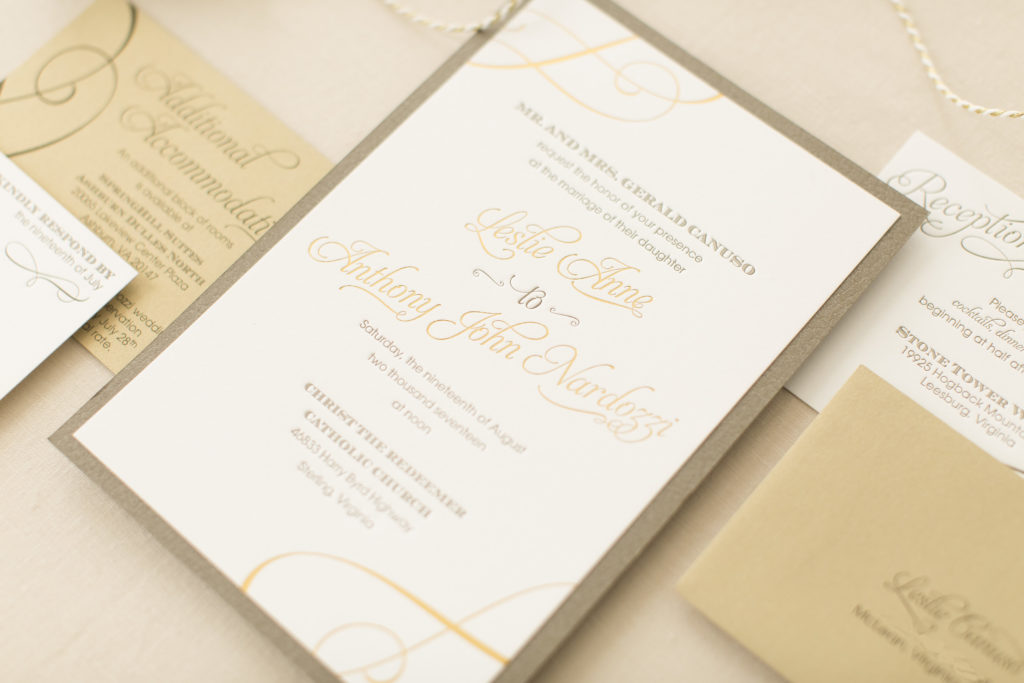 letterpress and gold foil layered gatefold wedding invitation.