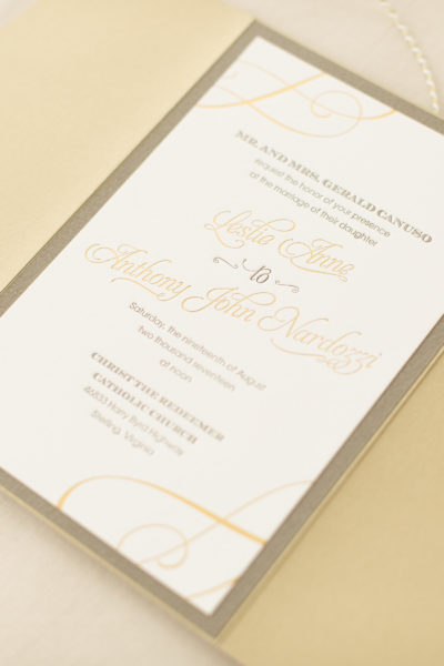 Leslie and Tony's Foil Stamped & Letterpress Wedding Invitations