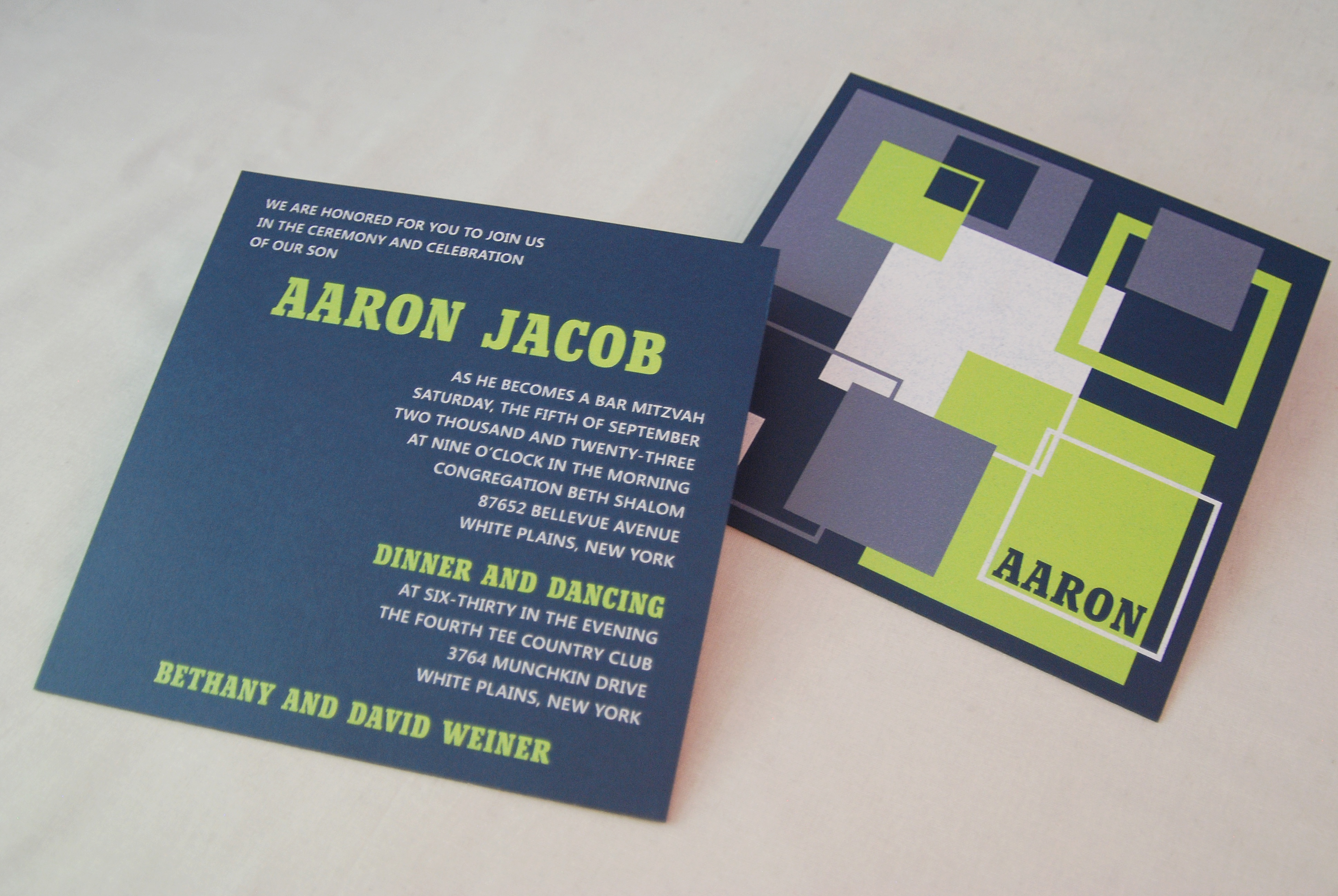 Navy and bright green square bar mitzvah invitation