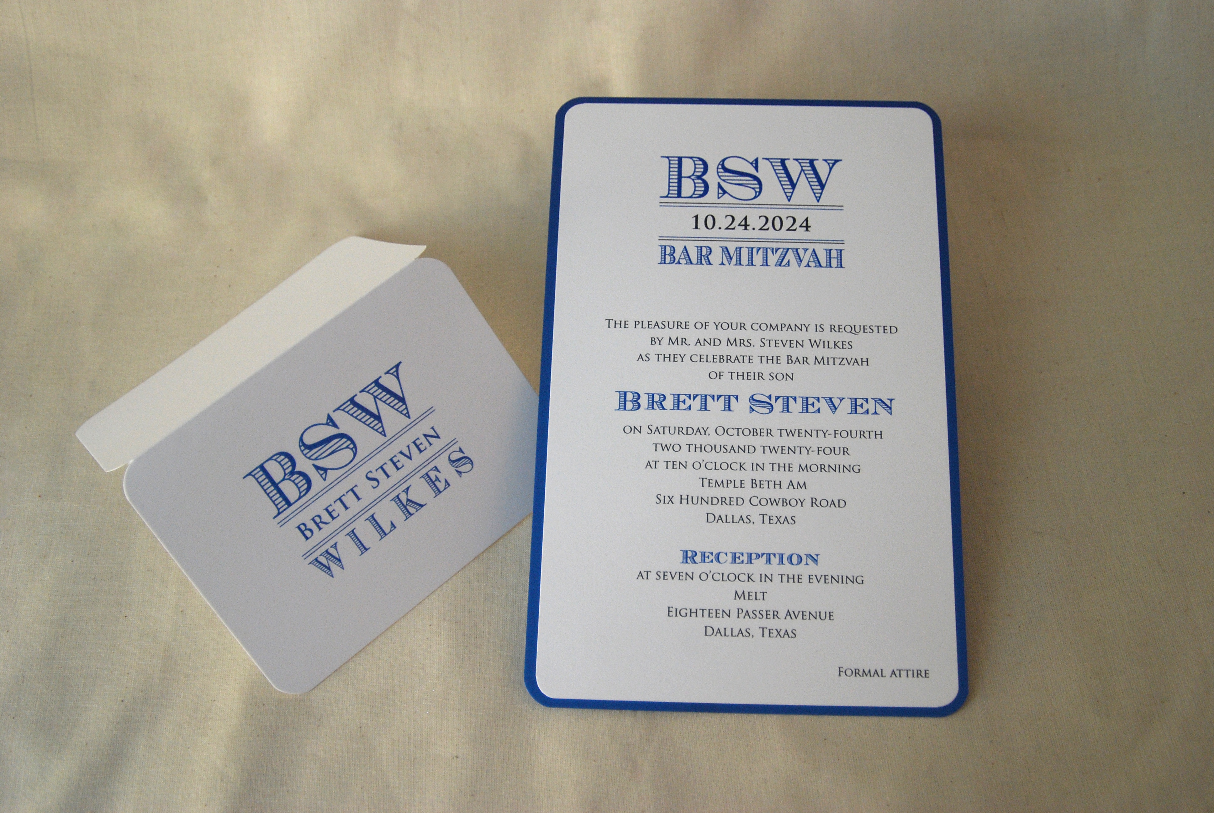 Brett Steven Layered Bar Mitzvah Invitation with Rounded Corders, navy and white.