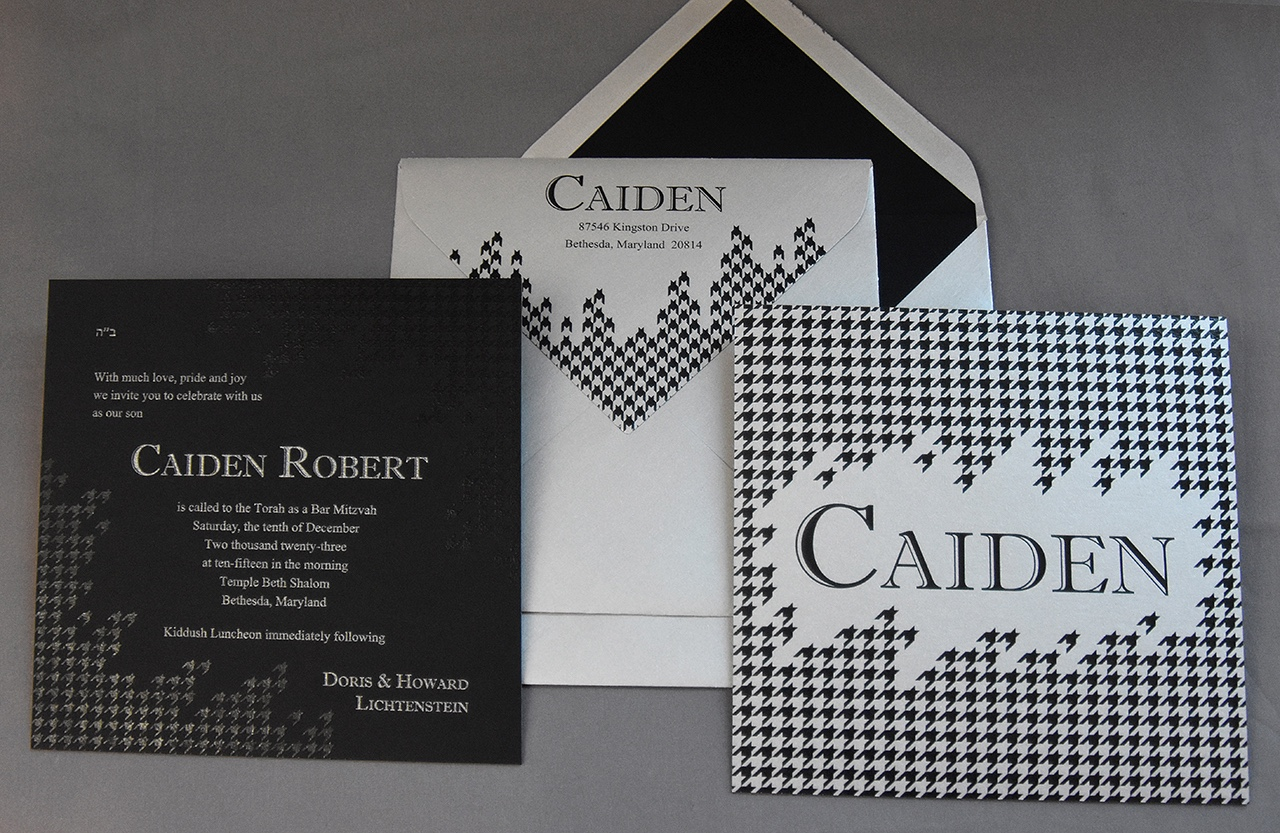 Caiden Robert  bar mitzvah invitation features a thick square card printed with a tone-on-tone houndstooth pattern.  Silver & black, bold and contemporary!