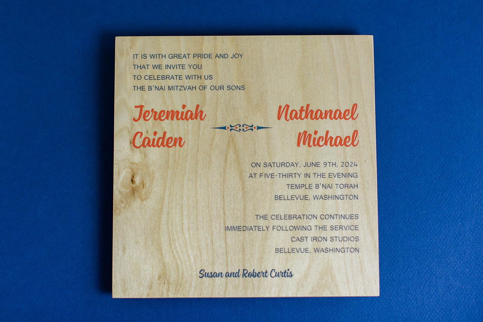 real wood is printed in orange and navy on this modern b'nai mitvah invitation