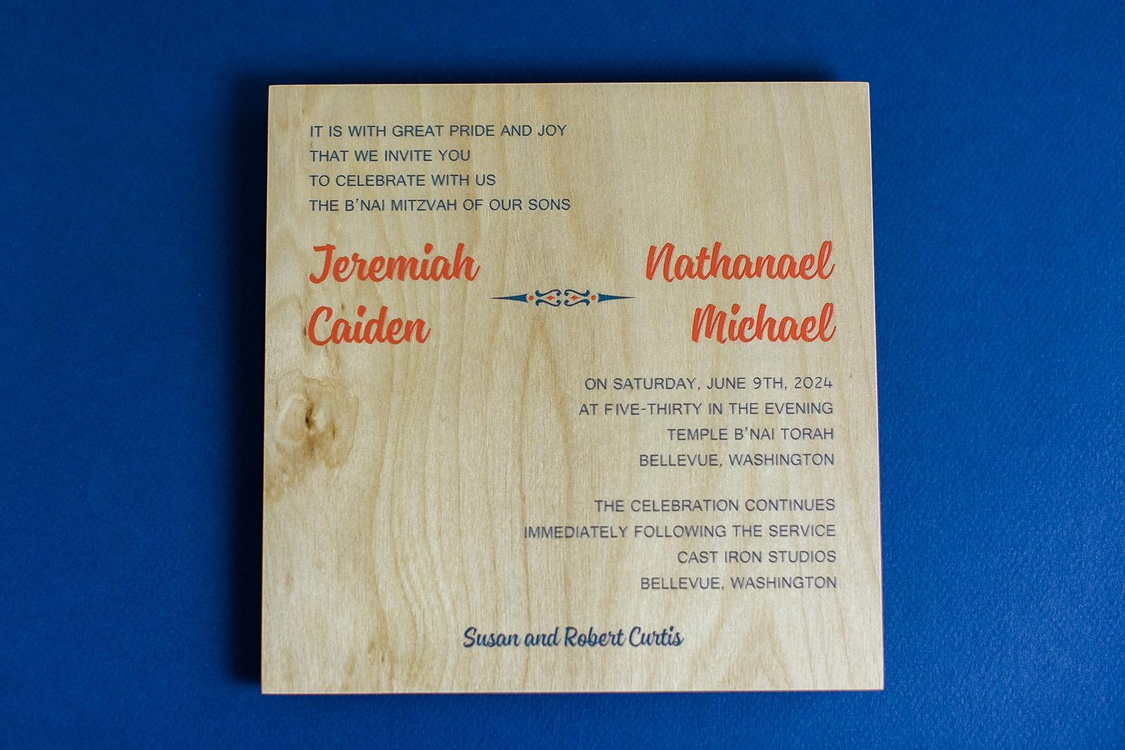 real wood is printed in orange and navy on this modern b'nai mitvah invitation