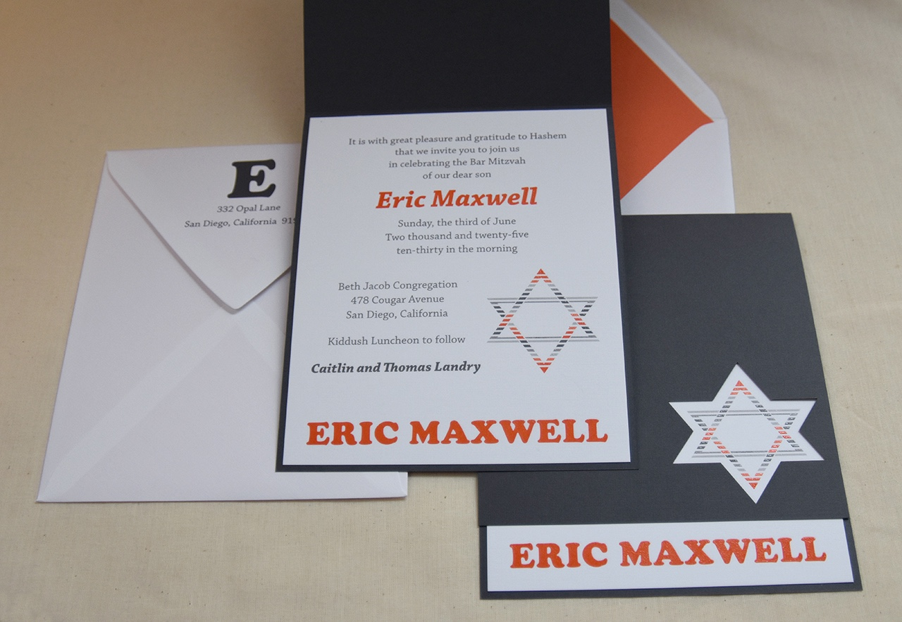 Eric Maxwell black, white, and orange bar mitzvah invitation available in Fairfax, Virginia at Staccato.