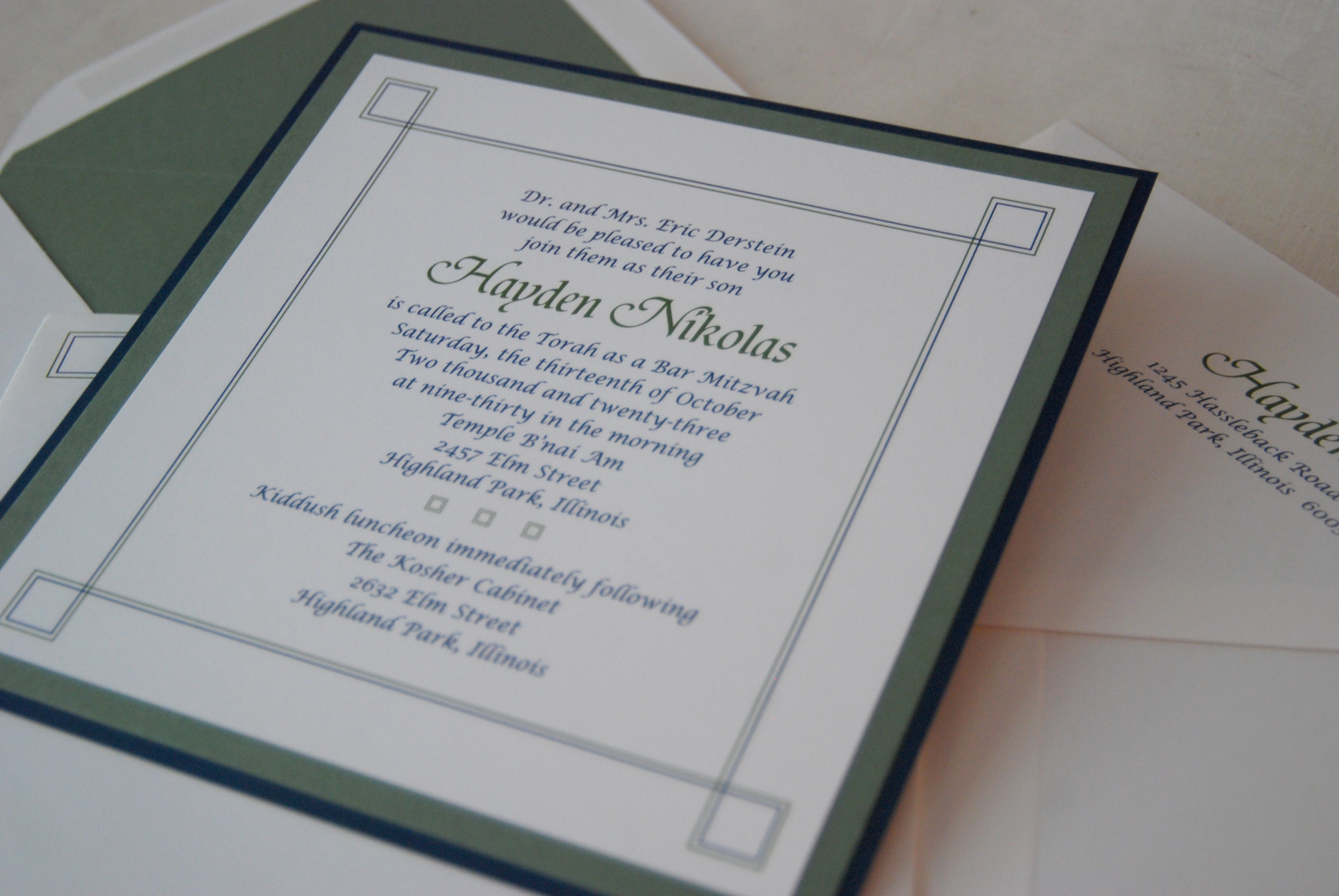 Hayden Nikolas layered, square bar mitzvah invitation available for DC, VA, and MD celebrations from Staccato