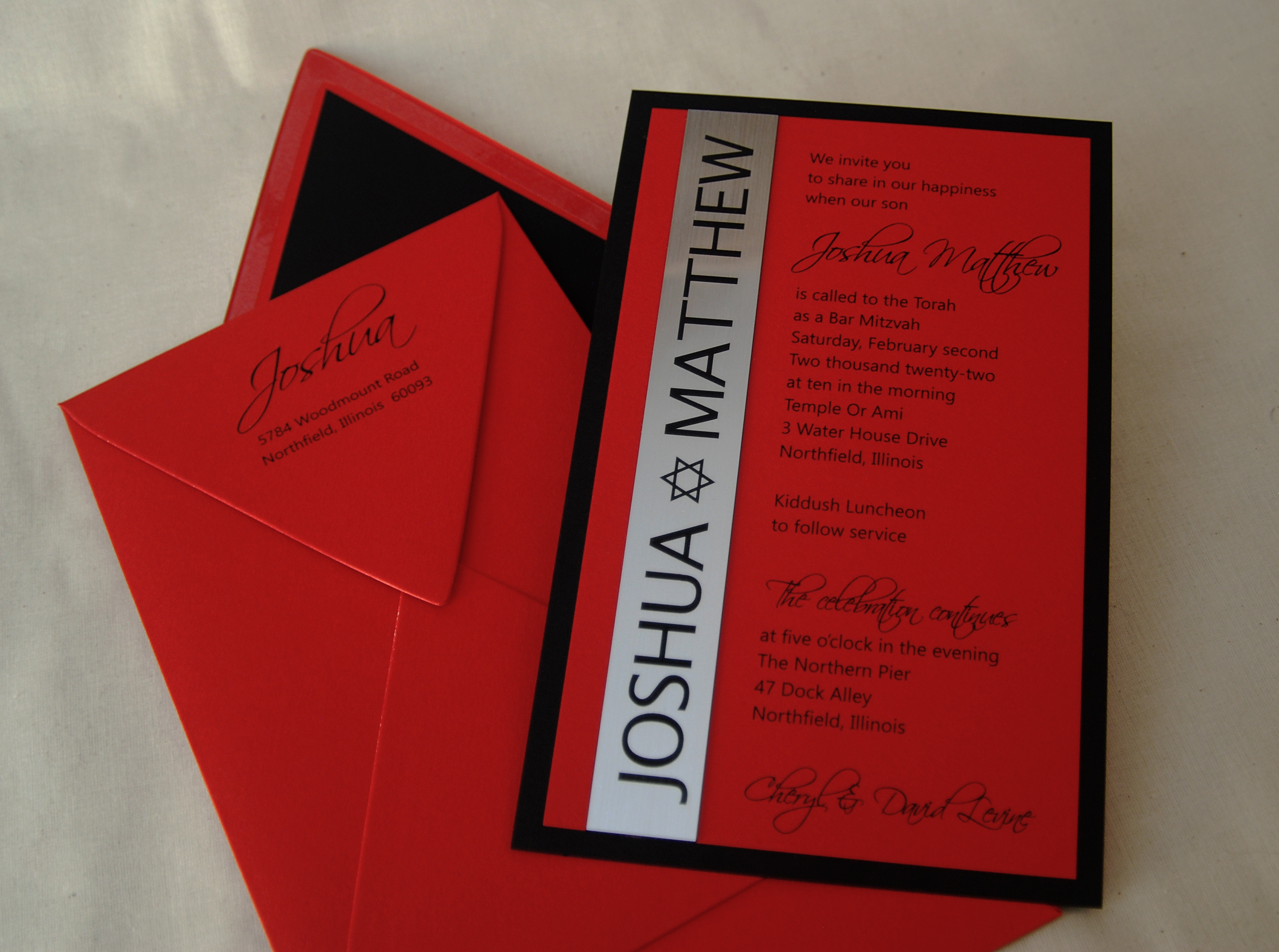 Joshua Matthew Red, Silver mirror, and black bar mitzvah invitation available in the Washington, DC area at Staccato
