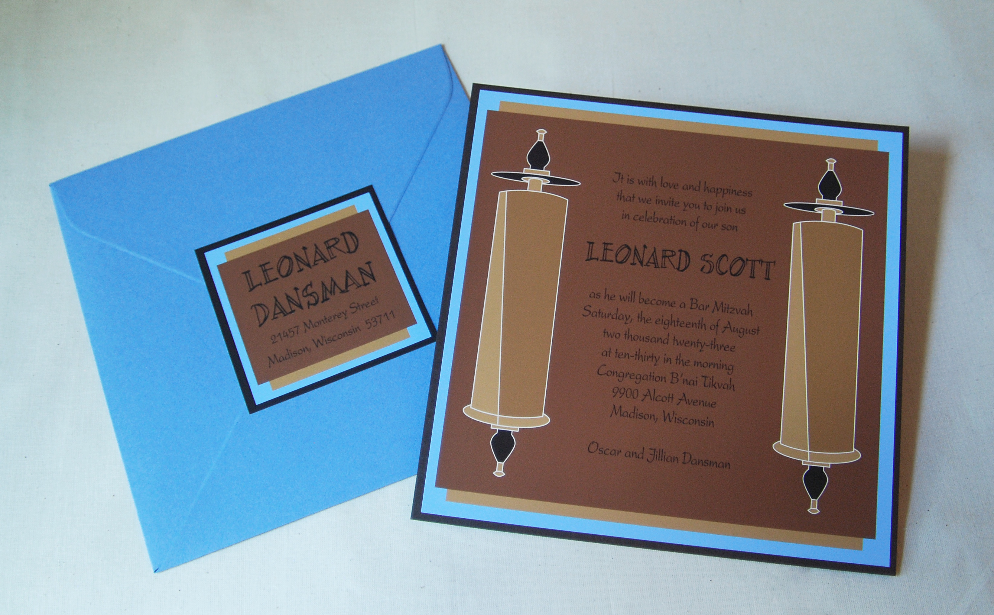 Leonard Scott bar mitzvah invitation