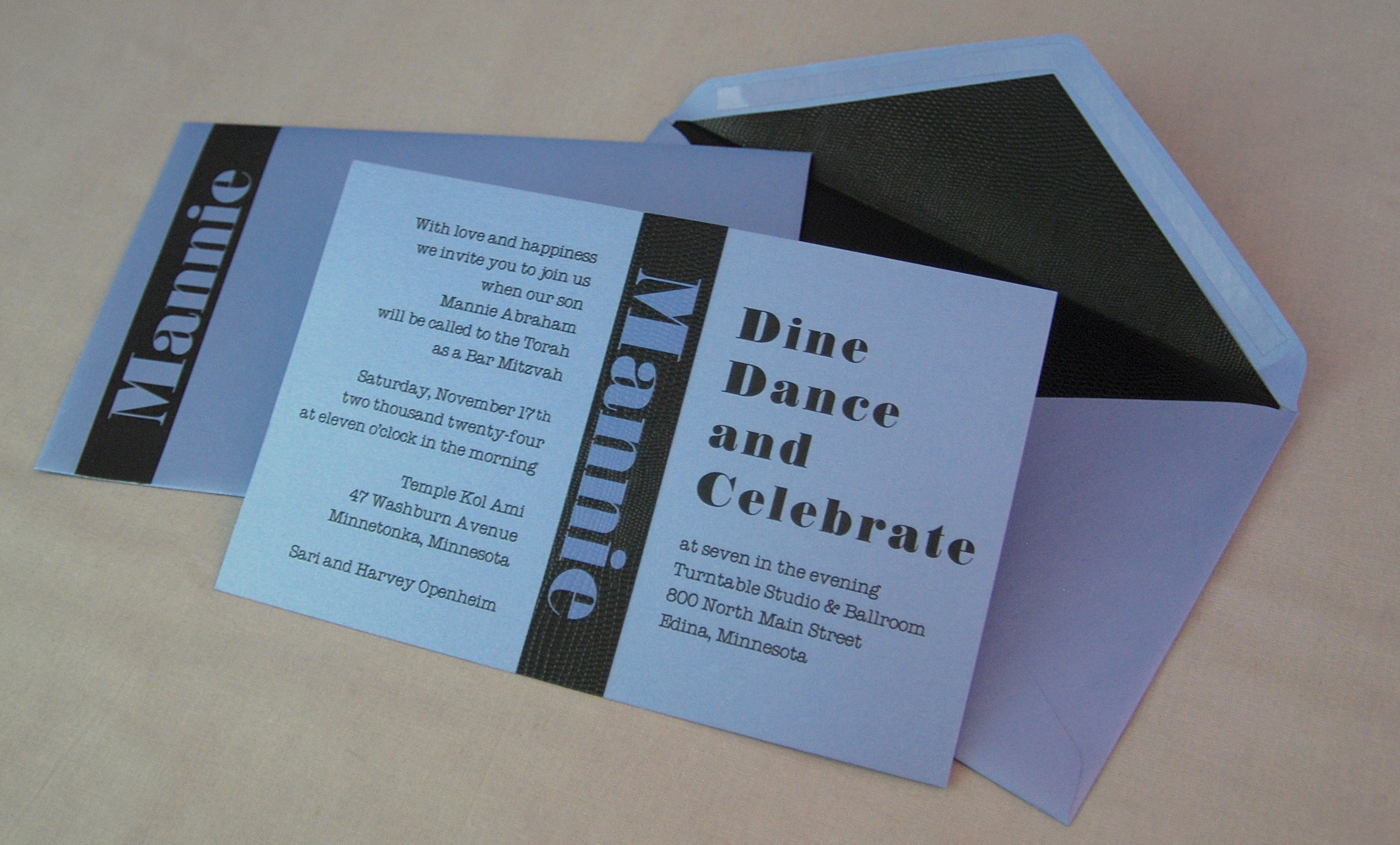 Mannie Abraham Bold stripe bar mitzvah invitation in blue and black.