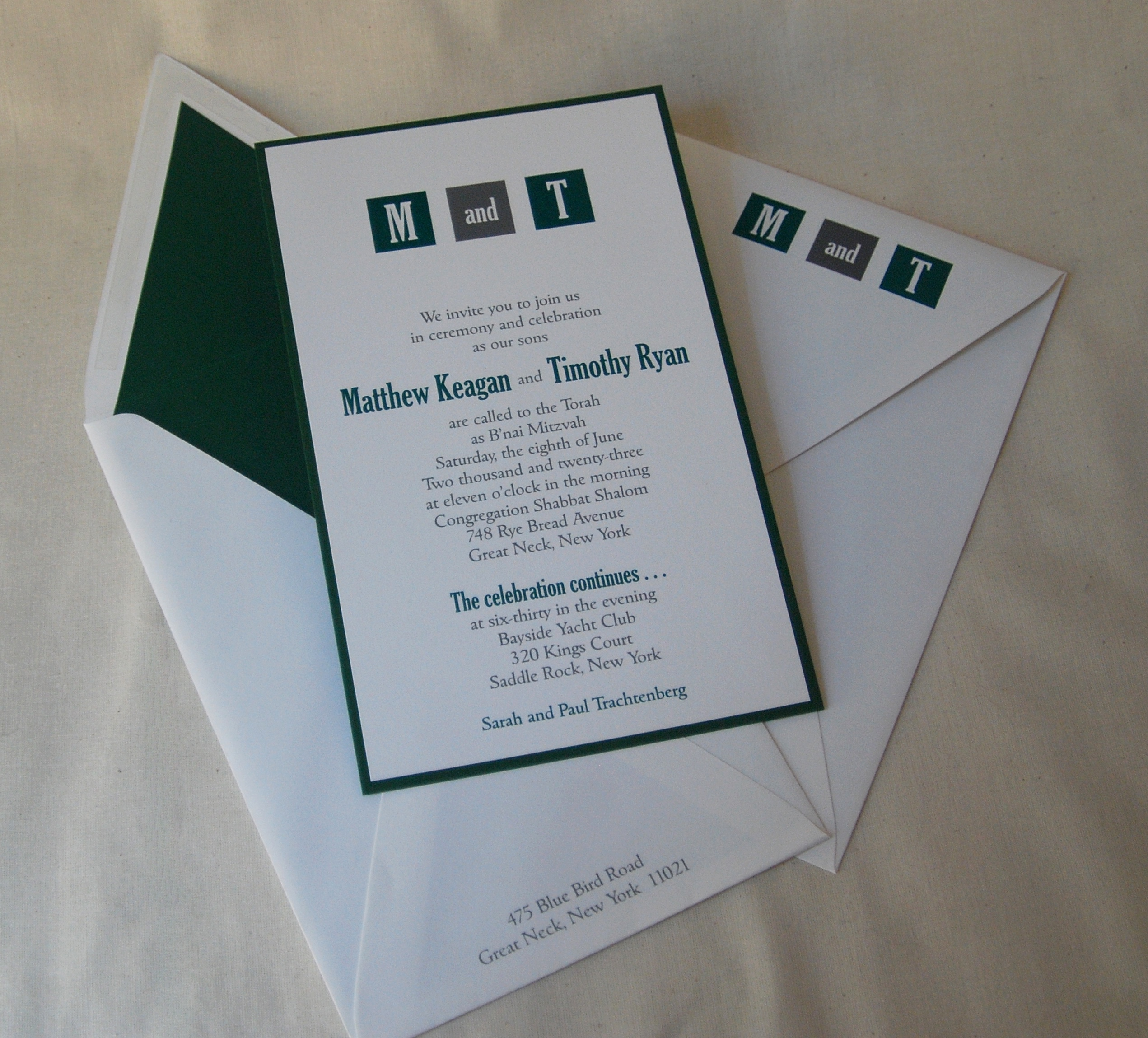 Matthew & Timothy Layered B'nai Mitzvah Invitation