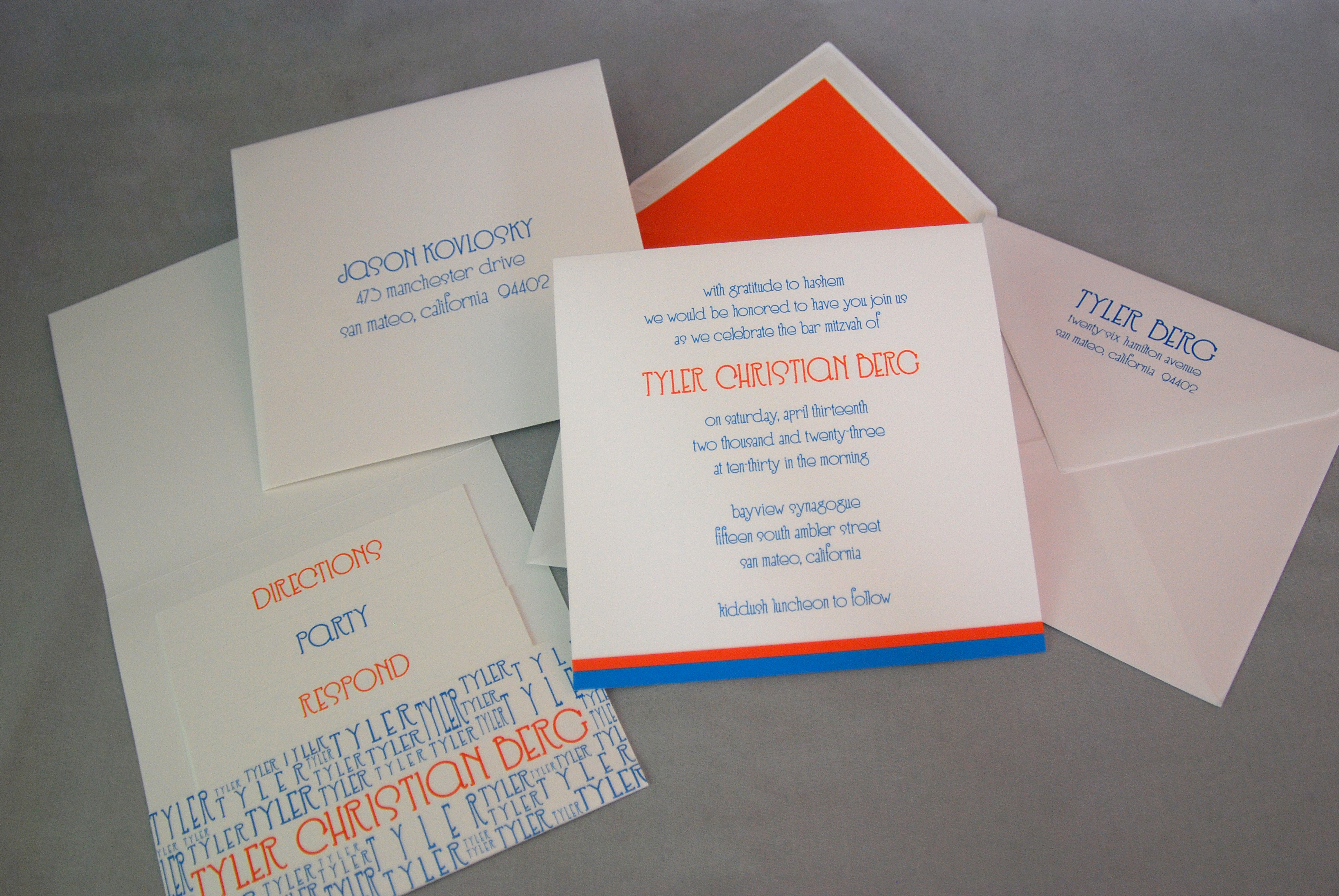 Tyler Christian Square Modern Bar Mitzvah Invitation available at Staccato in Fairfax, VA.
