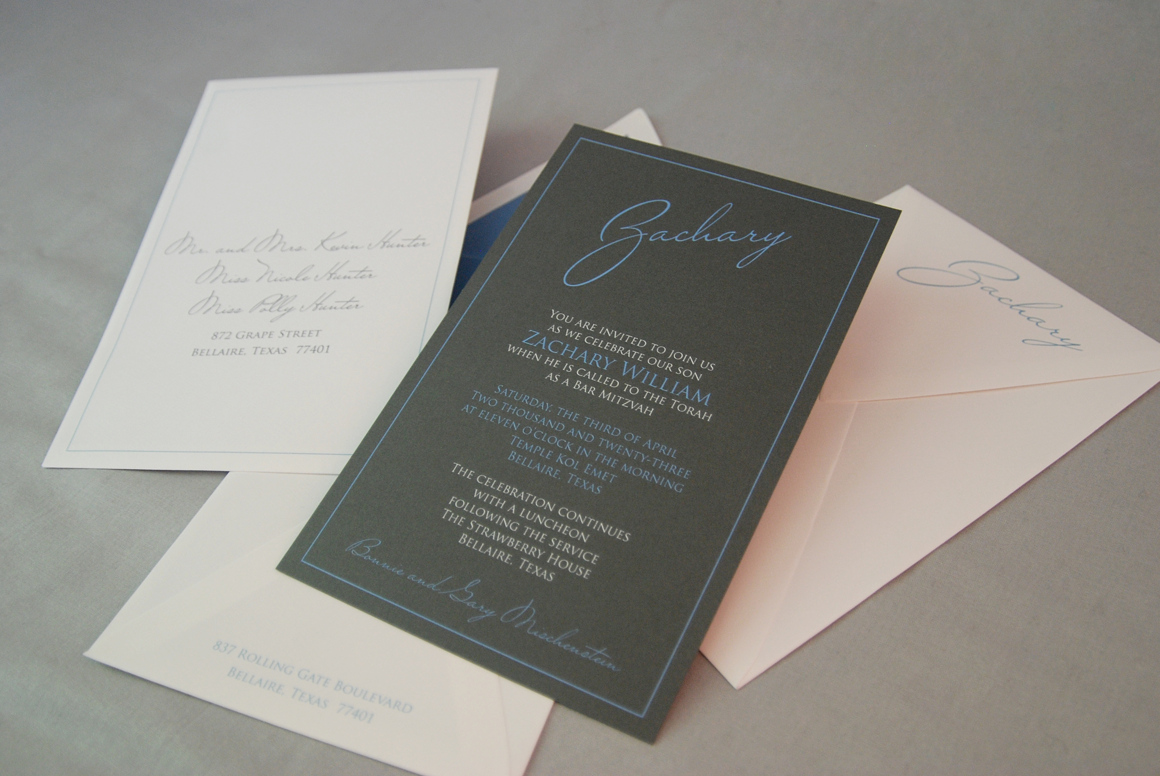 Zachary William Dramatic Bar Mitzvah Invitation in dark gray and soft blue.