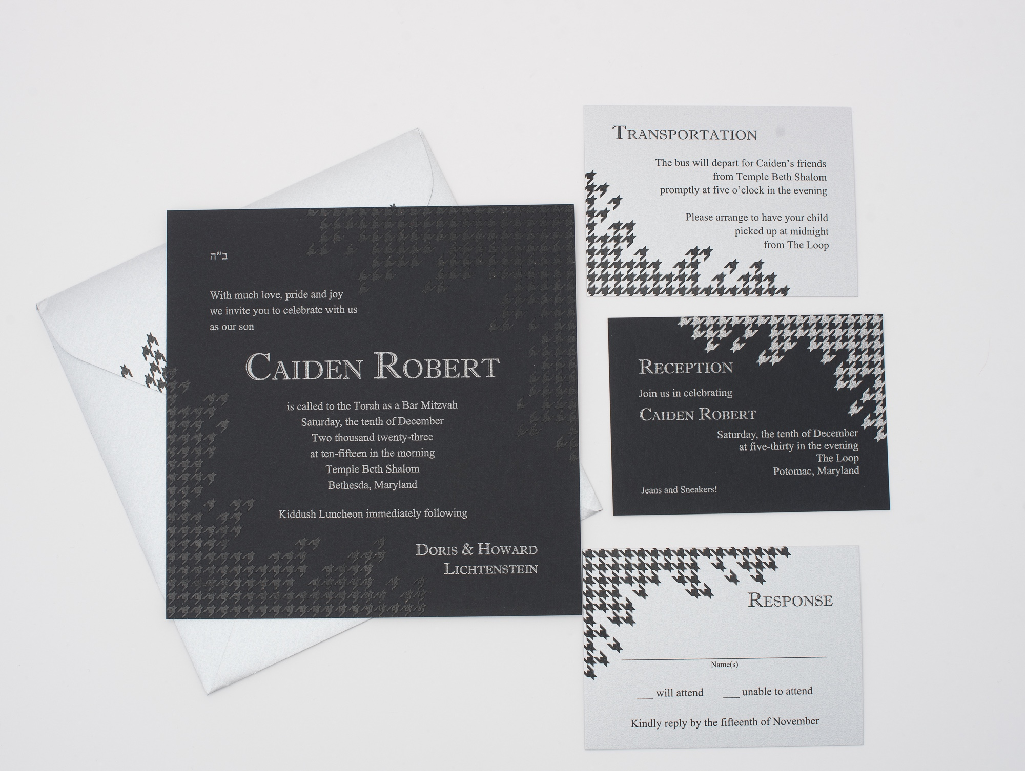 Contemporary tone-on-tone printing features a broken herringbone pattern accenting the corners of this contemporary bar mitzvah invitation in black and silver.  Staccato proudly serves mitzvah celebration in northern Virginia, DC, and Maryland, and ships nationwide.