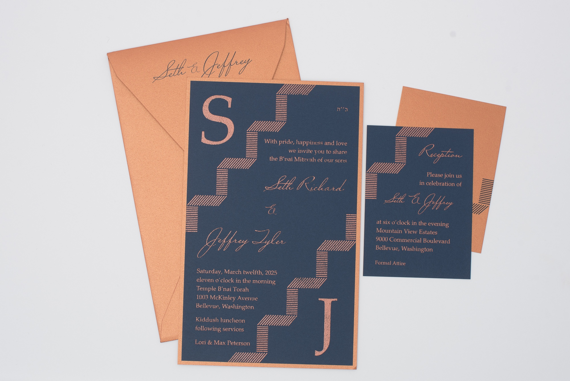 copper thermography on navy paper with copper envelopes and accent layer. B'nai Mitzvah invitation features monograms in upper and lower corners.