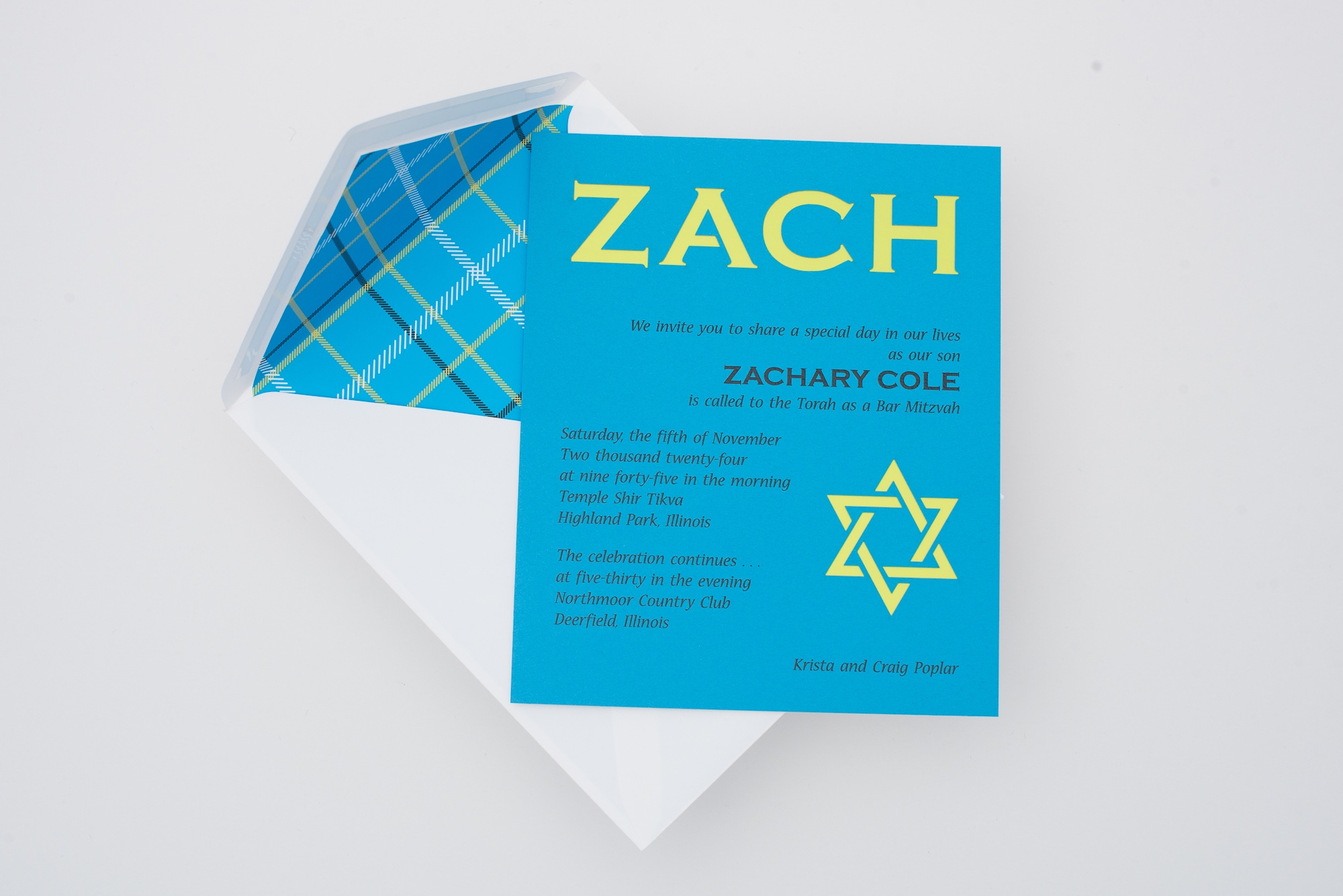 laser cut nickname and star of david reveal an accent layer of lime green beneath a bright blue invitation.  A fun plaid envelope liner really compliments this modern bar mitzvah invitation.  Staccato proudly serves mitzvah celebration in northern Virginia, DC, and Maryland, and ships nationwide.