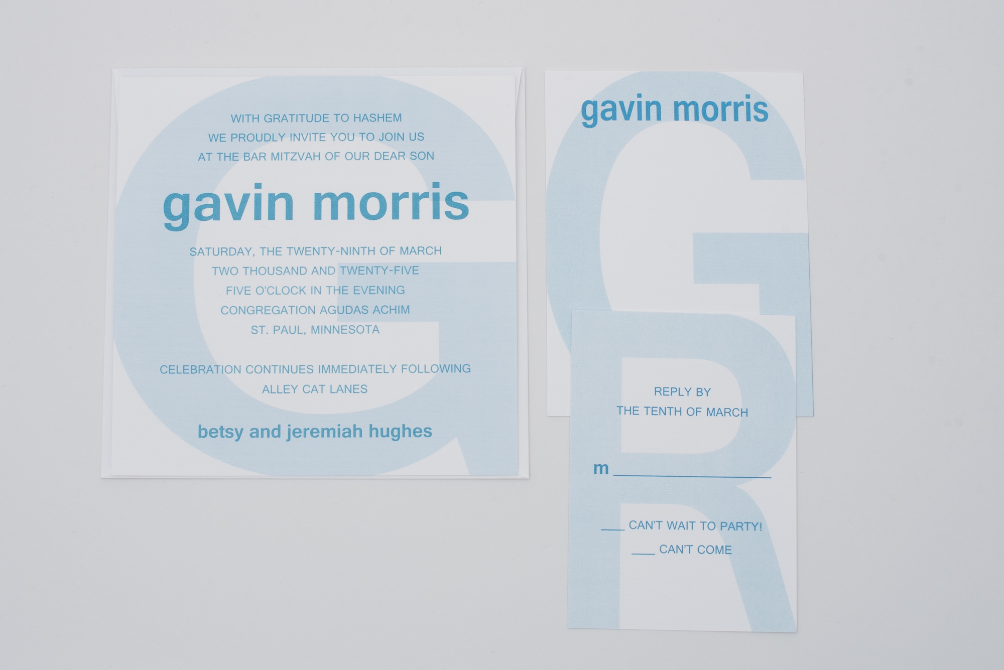 Large monogram letters in the background are the feature of this modern bar mitzvah invitation.