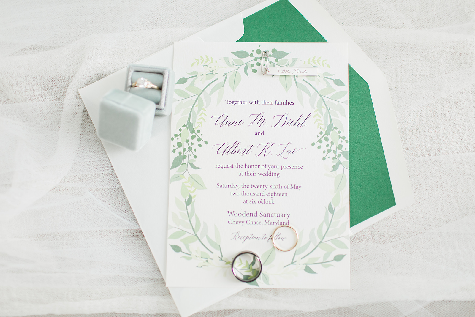 custom invitation wreath of greenery