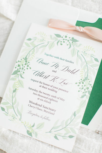 Custom Greenery Wedding Invitations for Anne & Albert