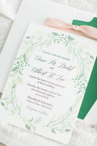 Custom Greenery Wedding Invitations for Anne & Albert