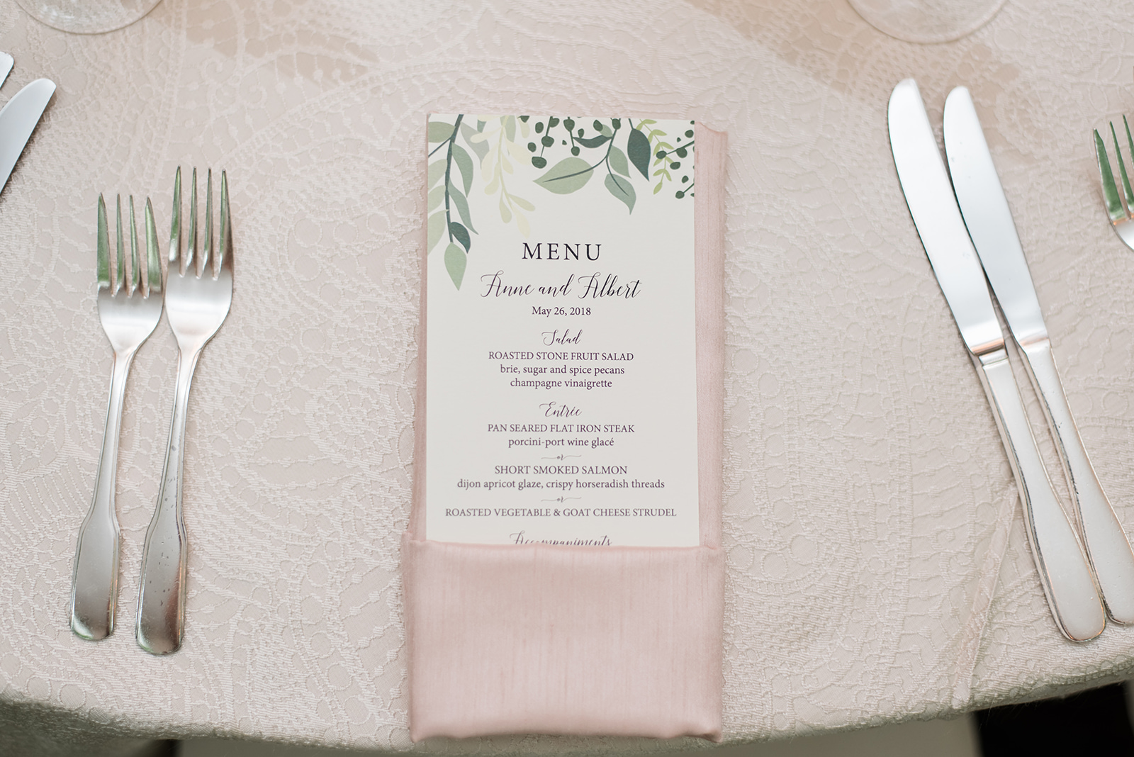 custom menu with greenery and calligraphy