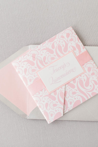Tracy's Silver & Pink Quinceañera Invitation