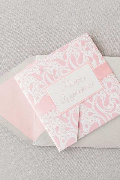 Tracy's Silver & Pink Quinceañera Invitation