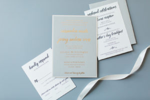 Cassandra and Jeremy's Custom Foil Stamped Wedding Invitations