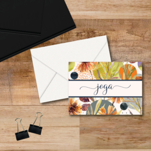 beautiful orange, blue, gray and green creates a stunning background for these 4-bar note cards that are personalized with your name on the front. Blank inside, come with envelopes.