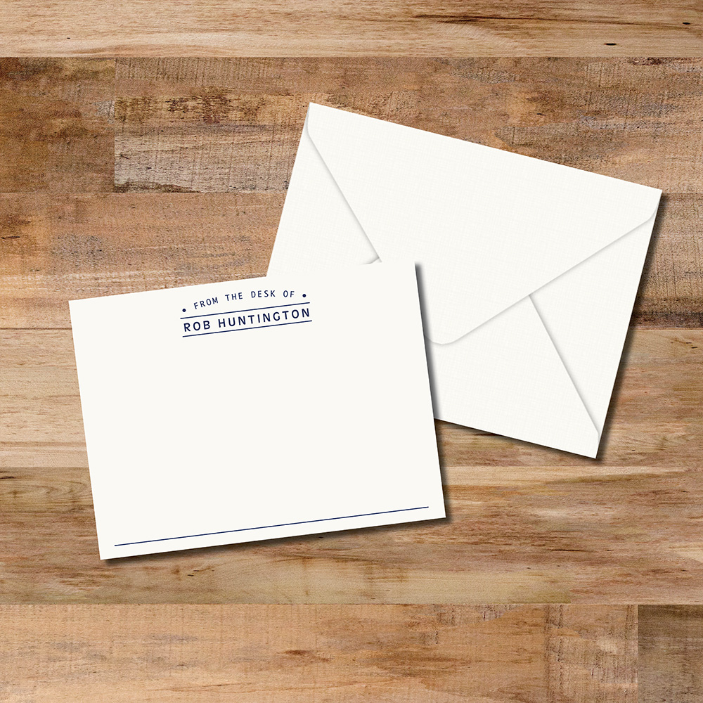 From the desk of personalized flat notecards are simple and professional. Your choice of single or double thick stock to make them extra special.
