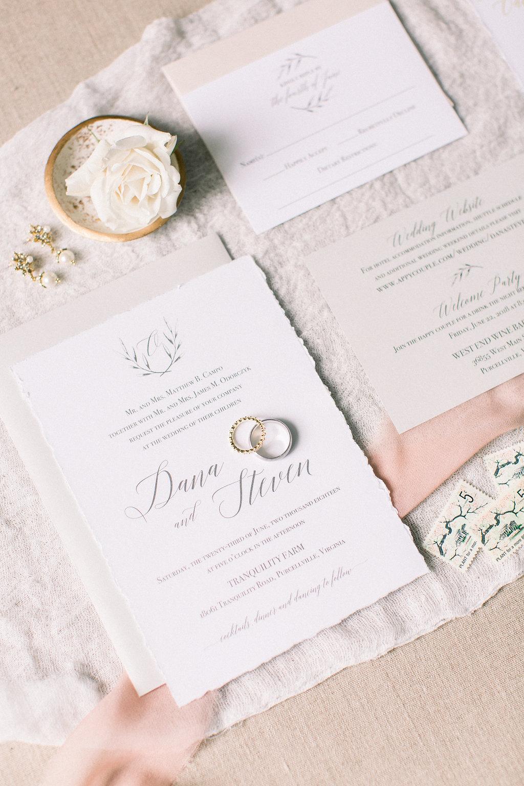 custom deckled edge wedding invitations virginia staccato