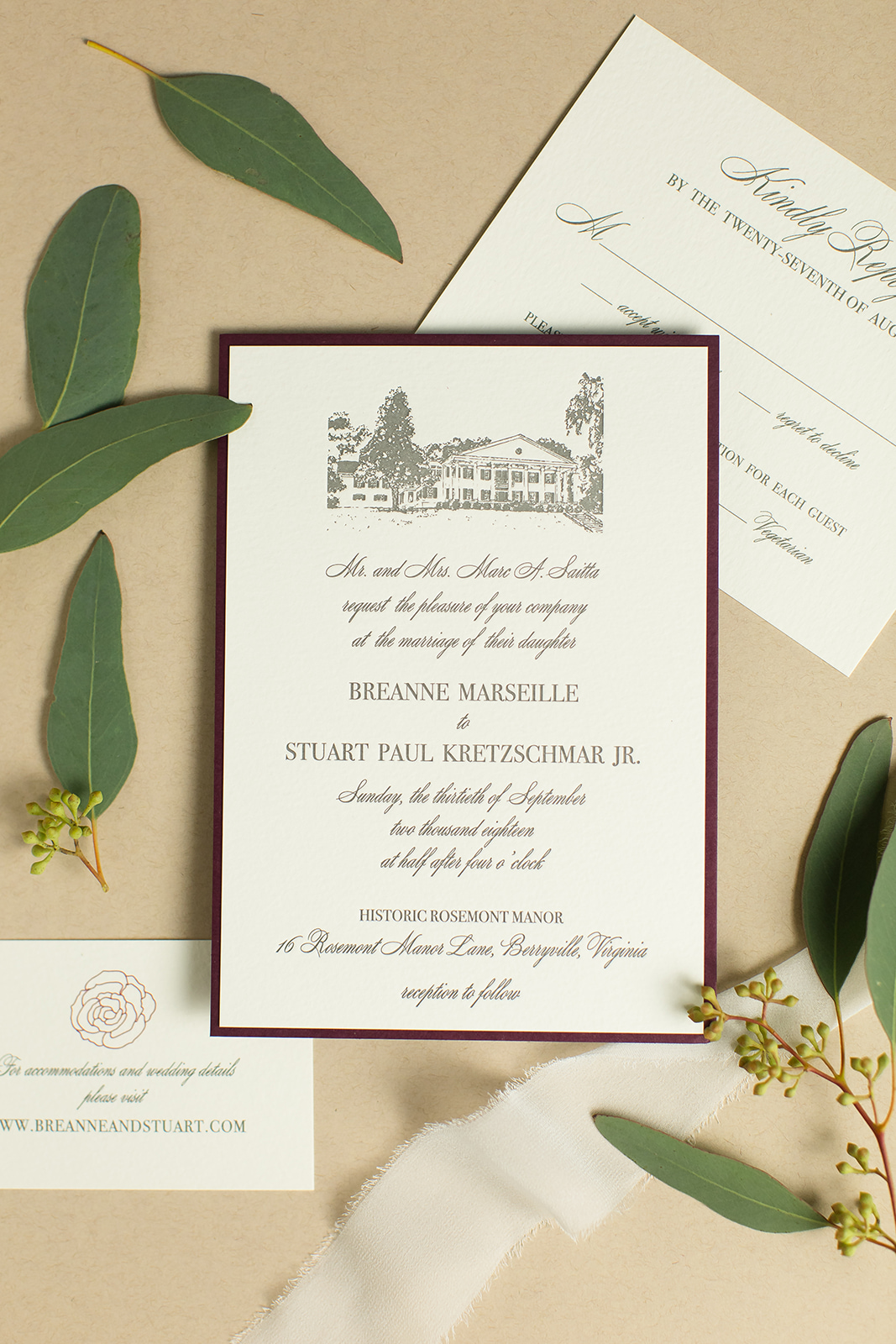 custom letterpress wedding invitation for Breanne and Stuart features a drawing of Historic Rosemont Manor