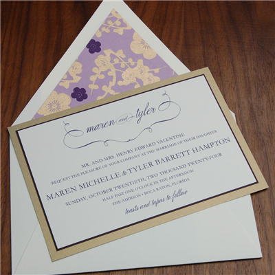 Addison layered invitation by Checkerboard features modern calligraphic scrolls and block lettering.