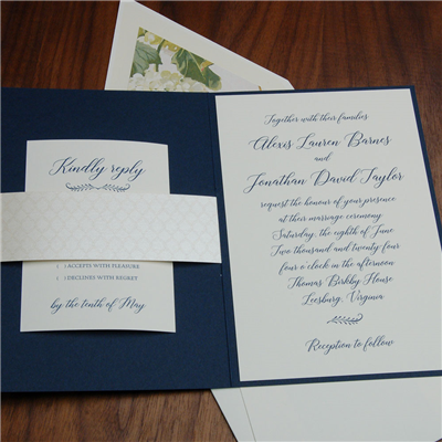 Loudoun wedding invitation features modern calligraphy script and a pretty booklet folder.